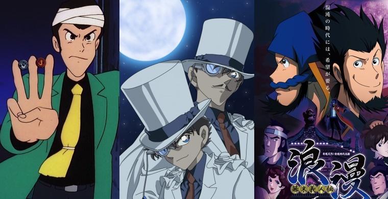 Слева направо: Люпен третий, Кайто кид, Призрачный вор Роман