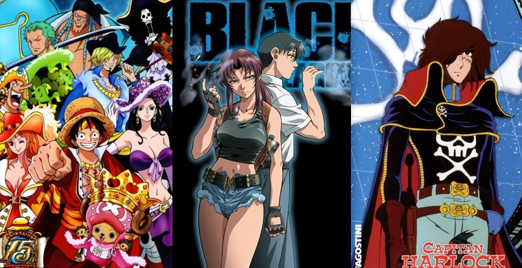Слева направо: One Piece,Black Lagoon,,