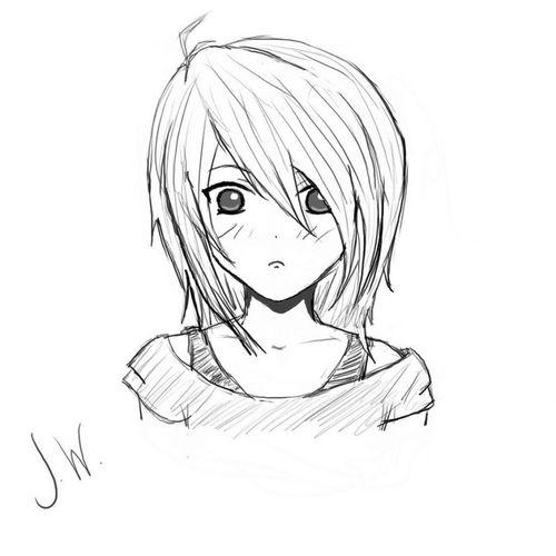 Рисунки карандашом аниме девушек